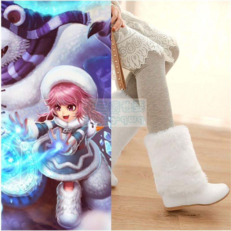 英雄連盟lol暗い女アンアイスクリームの辛口コスプレ服白い毛の靴のコスプレ靴