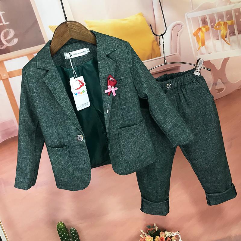 男童西裝套裝2019秋季新款韓版休閑兒童花童西服兩件套中大童禮服