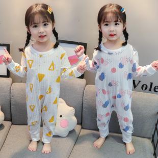 儿童连体睡衣夏季薄款女童纯棉长袖一岁宝宝3空调服2婴儿防踢睡袋