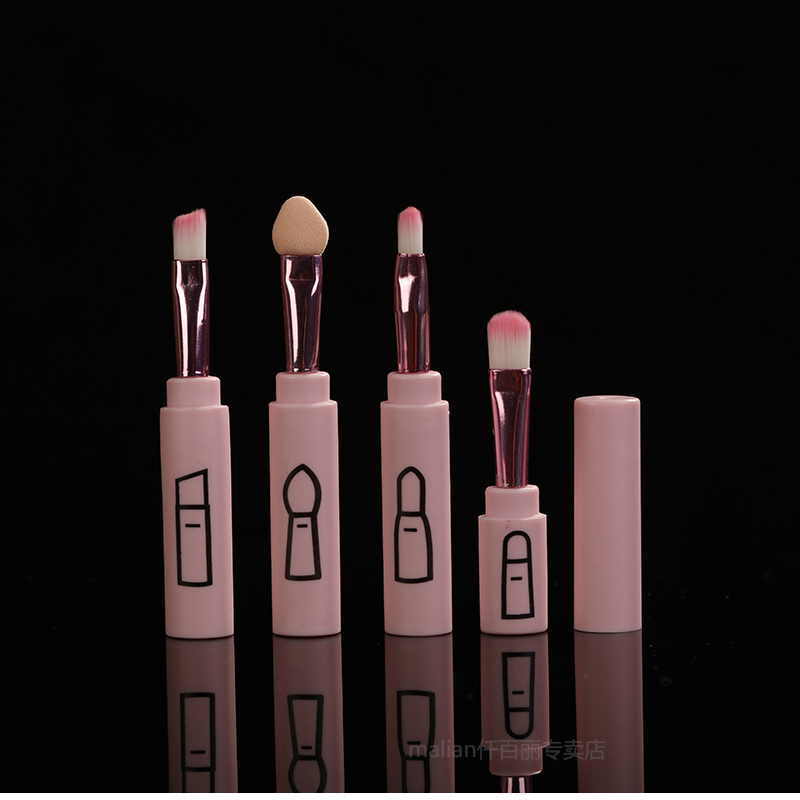 Mini minimalist portable travel brush set, beginner tool, brush, eye shadow brush, lip brush, eyeliner, eyebrow brush.