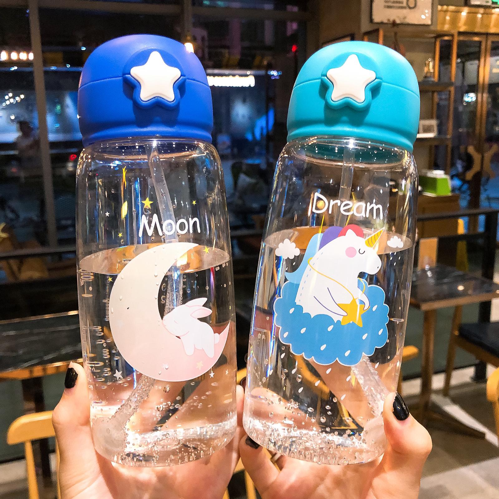 可爱卡通动物大容量塑料杯子儿童小学生夏季弹盖防摔便携吸管水杯