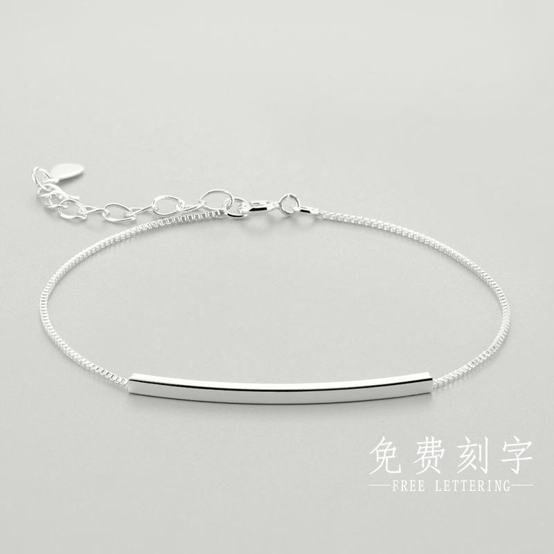 s925纯银手链女 ins小众设计气质韩版学生闺蜜森系手饰个性刻字
