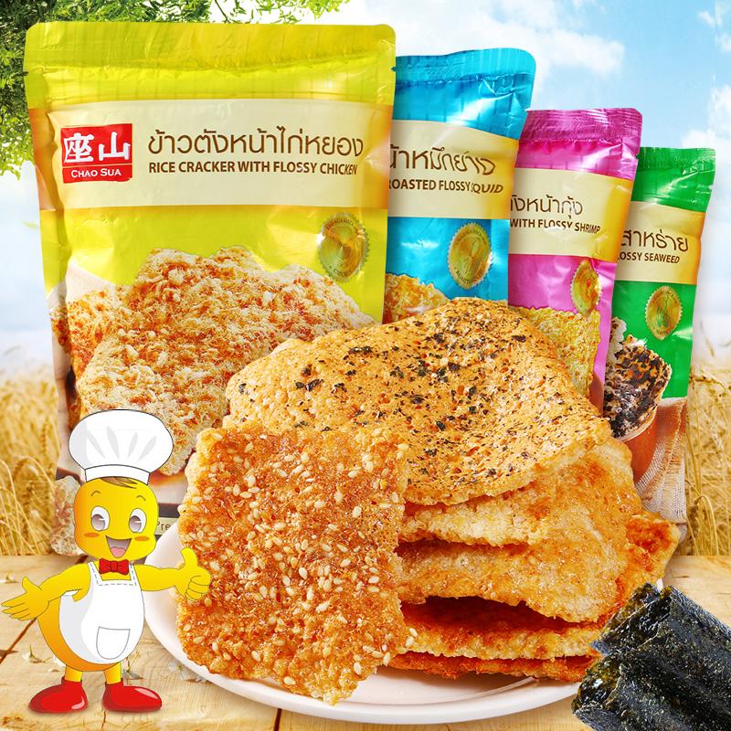 泰国进口座山牌虾丝米饼 70g膨化鱿鱼紫菜锅巴饭焦干休闲零食品(非品牌)