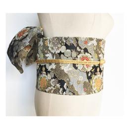 限时赏味原创 日本和服浴衣配件 提花定型蝴蝶结腰封 腰带 黑色系图片