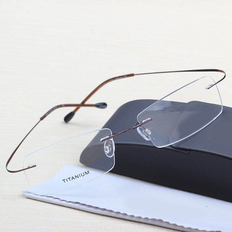 New Hailang pure titanium myopia spectacle frame mens and womens super light memory frameless glasses