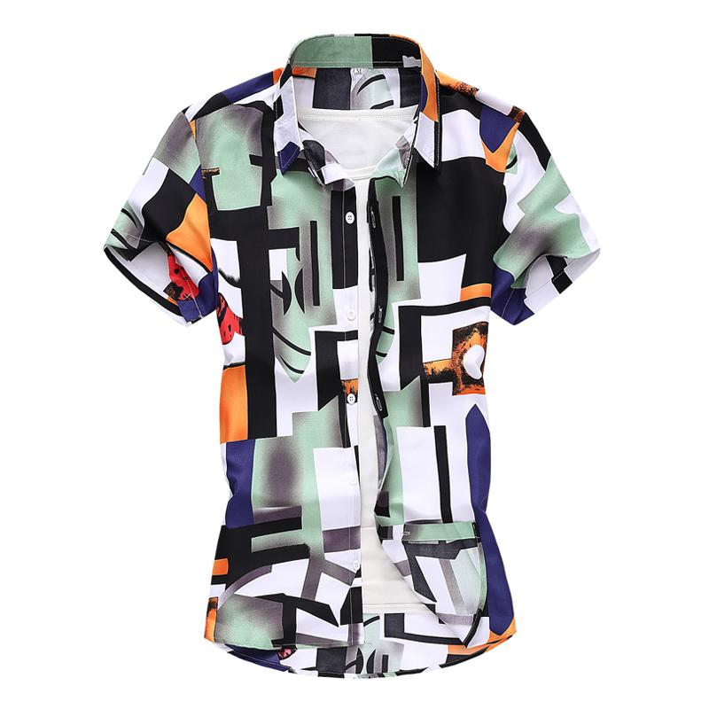 2021新款速卖通WISH外贸短袖花衬衫男青年时尚印花衬衣 C1007/P25