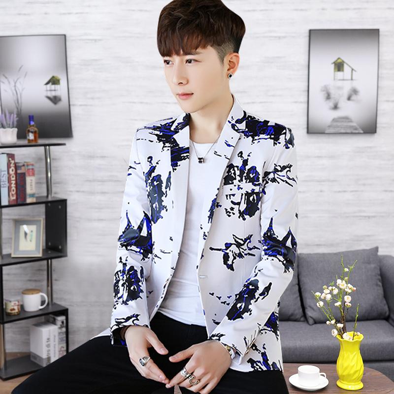 2021春装男士印花潮西服韩版修身小西装大码外套 XZ714-8817/P85