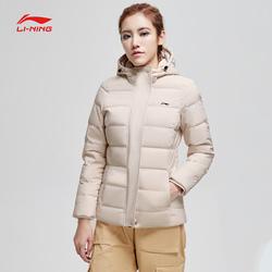 李宁短款羽绒服女士新款训练系列保暖连帽修身冬季白鸭绒运动服