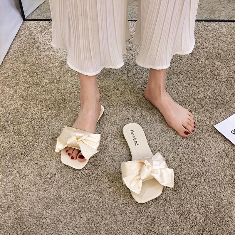 拖鞋女外穿2020夏季新款韩版时尚百搭网红蝴蝶结软底休闲平底凉拖