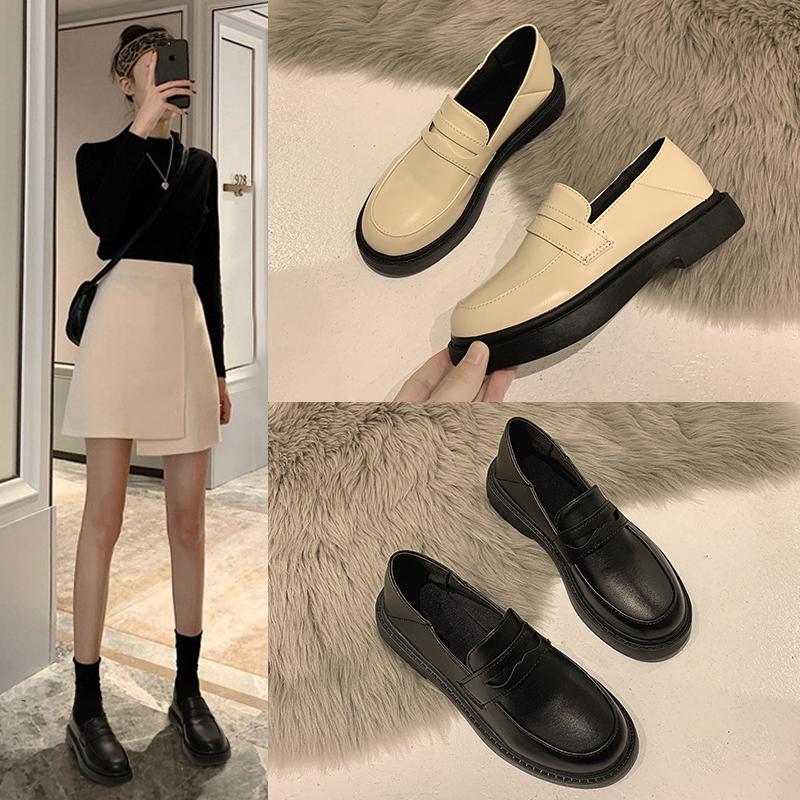 英伦风小皮鞋女2021春秋jk加绒小众设计感黑色新款配裙子单鞋秋季