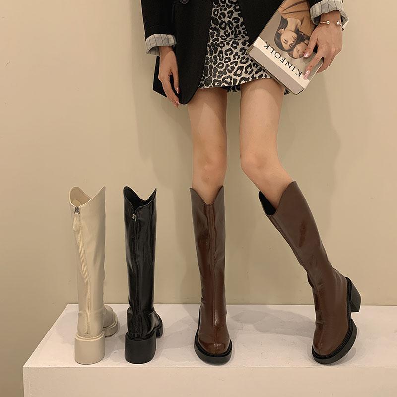 贾不假不过膝长靴女2021年秋季新款高跟长筒显瘦春秋高筒骑士靴潮