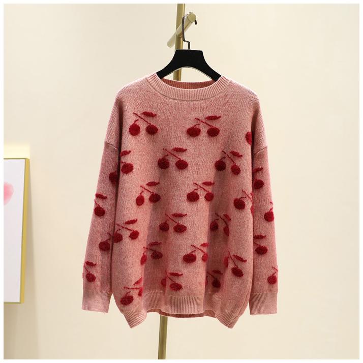 甜美櫻桃提花仿水貂絨毛衣女韓版冬季新品時尚圓領套頭寬松針織衫