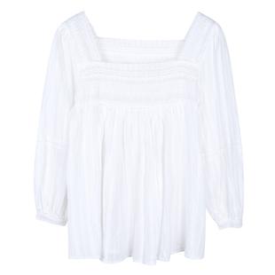 馨幫幫sinbounboun白色韓版小清新法式方領泡泡袖仙女上衣襯衫女