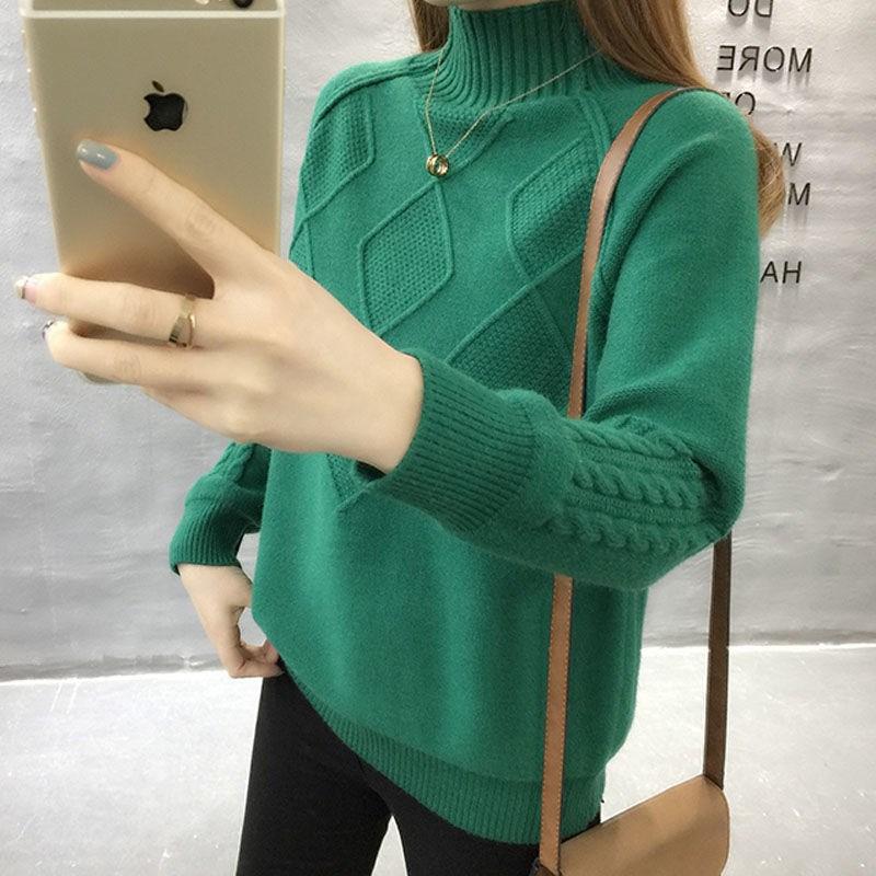 2020秋冬新款高领毛衣女韩版潮女装显瘦宽松套头衫加厚针织打底衫