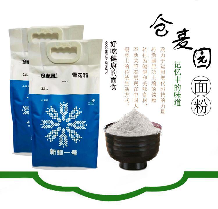 新疆仓麦园5斤×2高筋雪花粉烘焙包点水饺饼干面条及蒸煮面制品