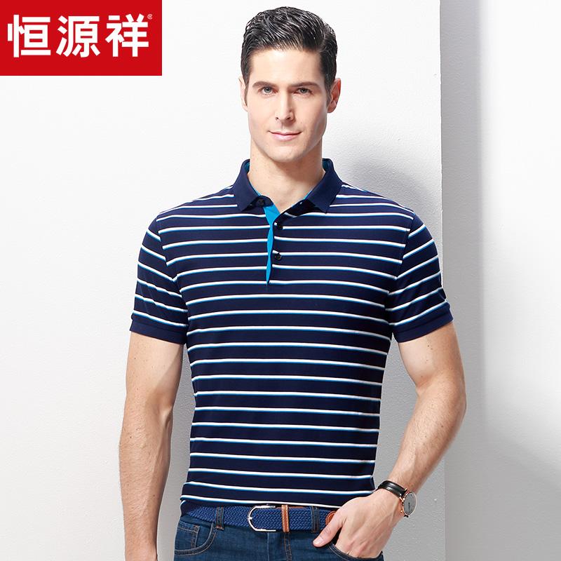 恒源祥男士短袖t恤夏季透气纯棉翻领体恤衫中年休闲条纹polo衫