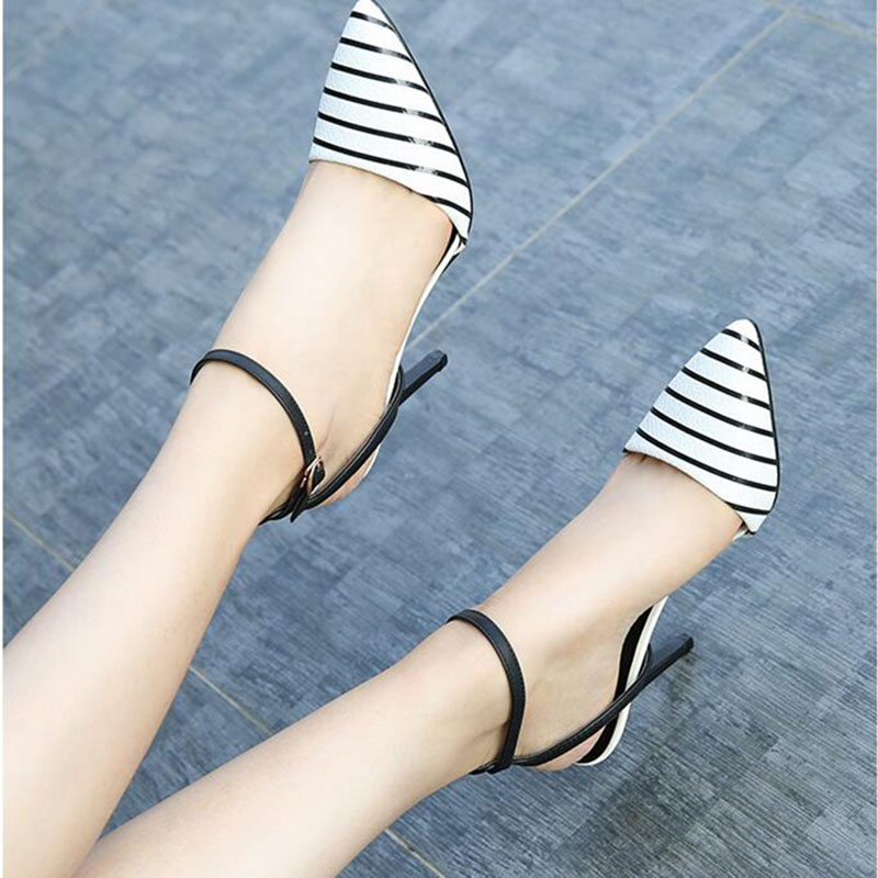 Fairy sandals womens summer 2021 new thin heel Baotou middle heel pointed sexy button temperament 10cm high heel shoes