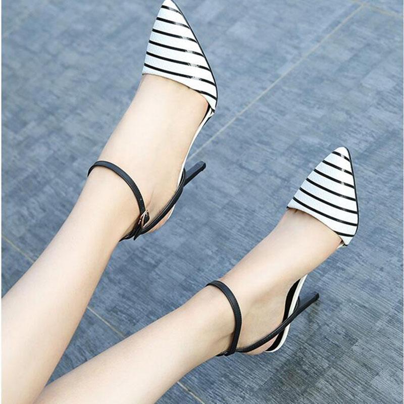 仙女凉鞋女夏2021新款细跟包头中跟尖头性感一字扣气质10cm高跟鞋