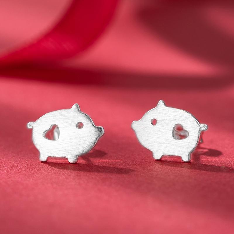 S925 pure silver new auspicious animal earrings of Chinese Zodiac