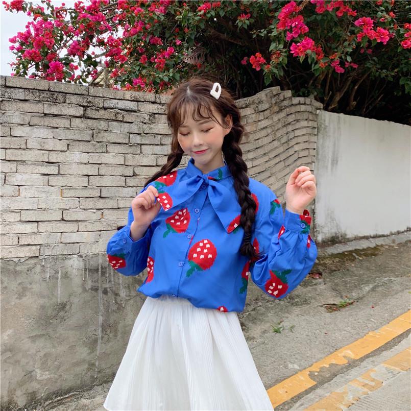实拍实价春季新款韩版百搭小清新蝴蝶结草莓衬衣