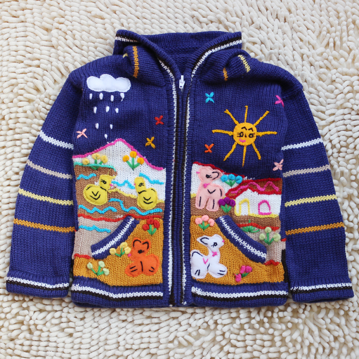 Foreign trade childrens Retro baby 2 sweater 3-year-old spring and autumn sweater hooded cartoon lamb chicken ranch orphan