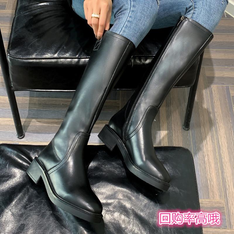 骑士靴女长筒靴2019秋冬新款皮靴侧拉链粗跟圆头大码不过膝马靴