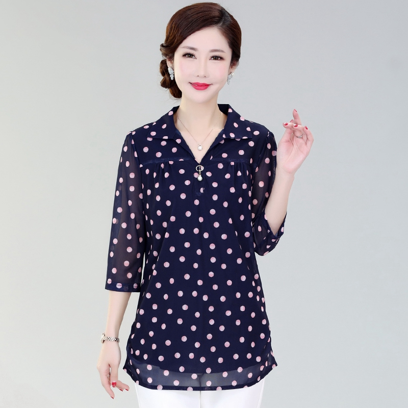Summer new middle sleeve T-shirt Taiwan mesh blouse mothers Day gift good clothes for middle-aged and old mothers