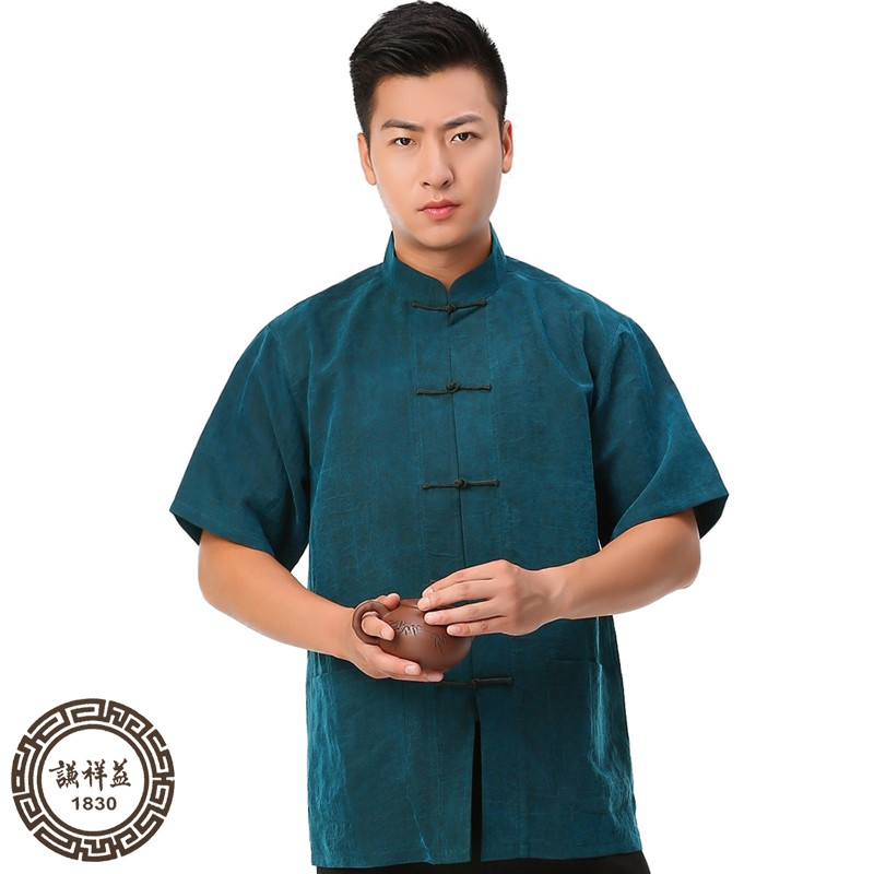 Tang Mens short sleeve top new Chinese xiangyunsha National Summer Shirt middle aged and old peoples Retro casual silk dress