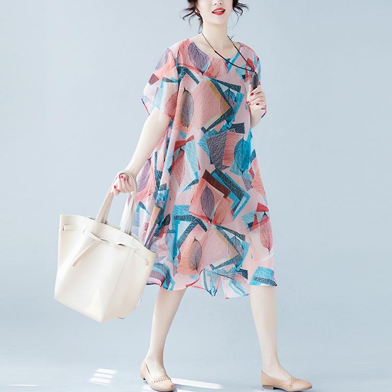 肥胖女装夏装200斤特大码遮肚子A字裙加肥加大碎花雪纺连衣裙减龄