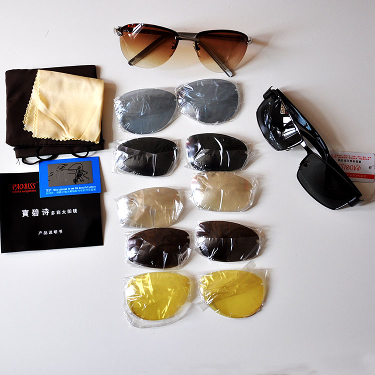 Paobis colorful Sunglasses with 6 pairs of lenses for polarizing glasses to prevent glare