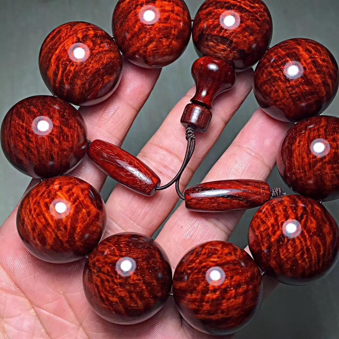 印度小叶紫檀手串 2.0满金星紫檀佛珠男女手串水波 留疤108颗手链
