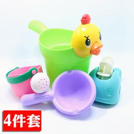 宝宝洗澡舀水票花洒洗发杯小黄鸭洗头杯儿童洒水壶沙滩套装舀水勺