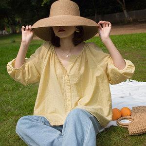 灯笼袖宽松显瘦泡泡袖七分袖娃娃衫 v领衬衫女夏季设计感小众上衣