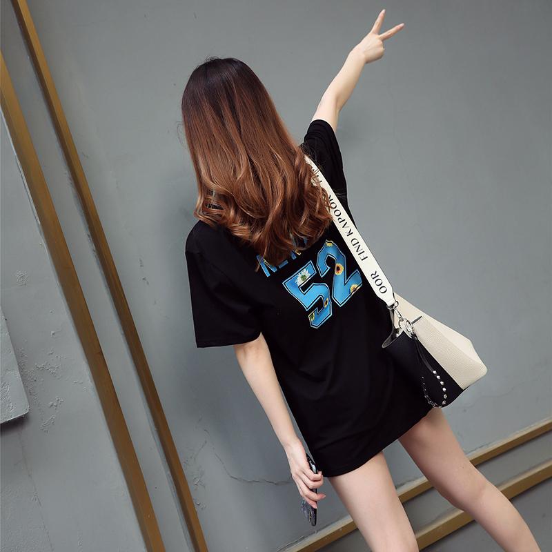 热销46件限时抢购中长款女韩版潮宽松数字短袖t恤