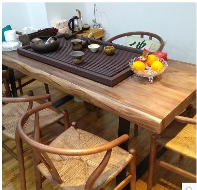 铁艺实木茶桌椅组合美式仿古功夫茶几铁艺简约现代大板桌喝茶泡茶