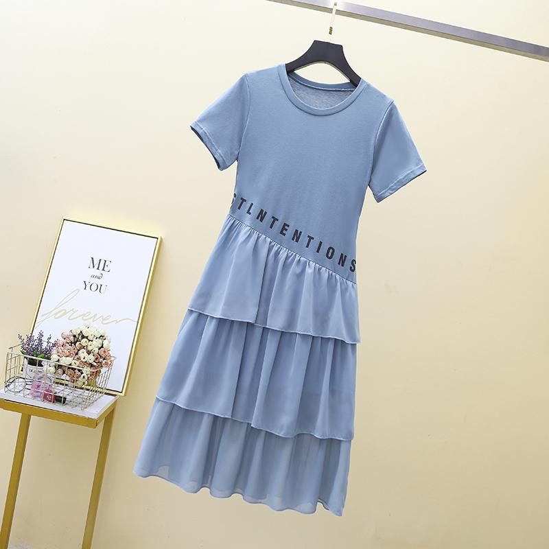 6805#夏季韩版雪纺拼接假两件T恤裙遮肚大码女装显瘦收腰连衣裙潮