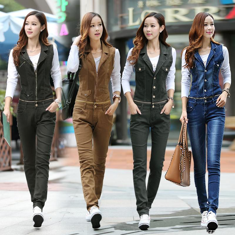牛仔连体背带裤女长裤两穿韩版修身学院风可拆卸显瘦套装秋季新款