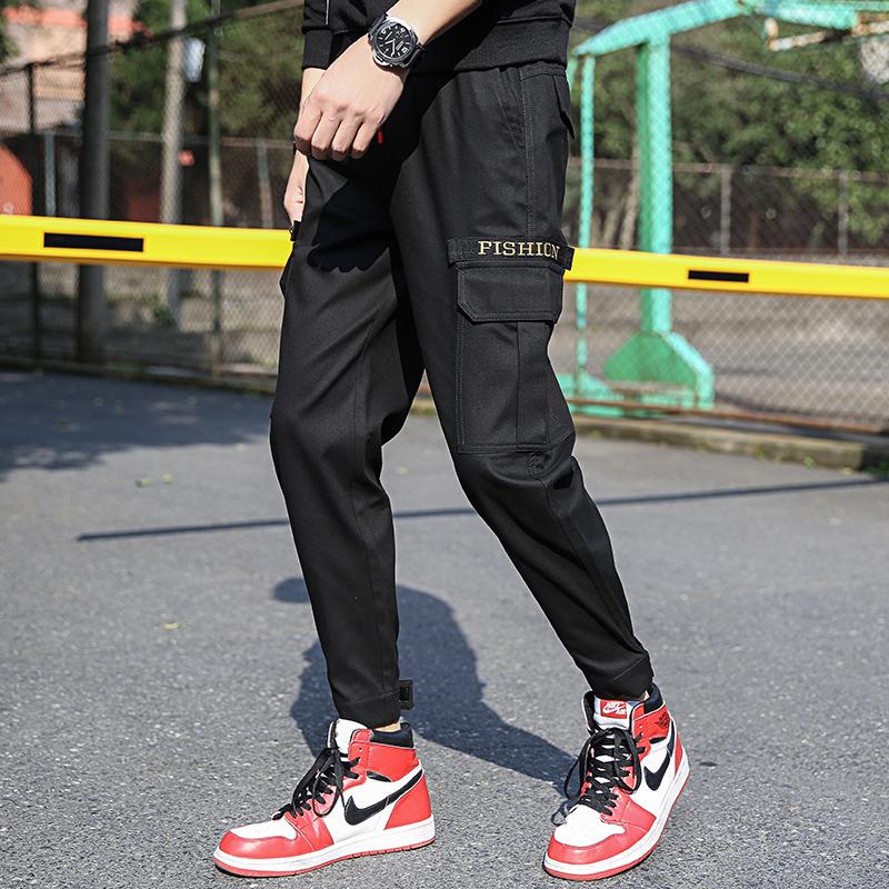2019新春季多口袋工装裤男潮牌束脚收口小脚宽松百搭超火的裤子男