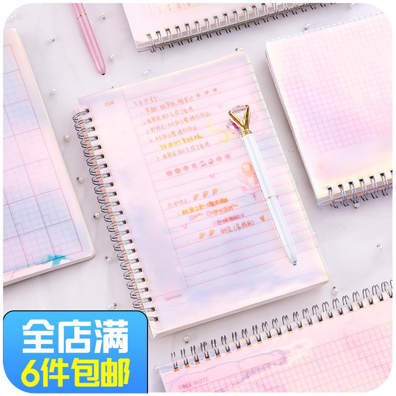 韩国小清新简约方格子网格笔记本子大学生线圈记事本创意可爱文具