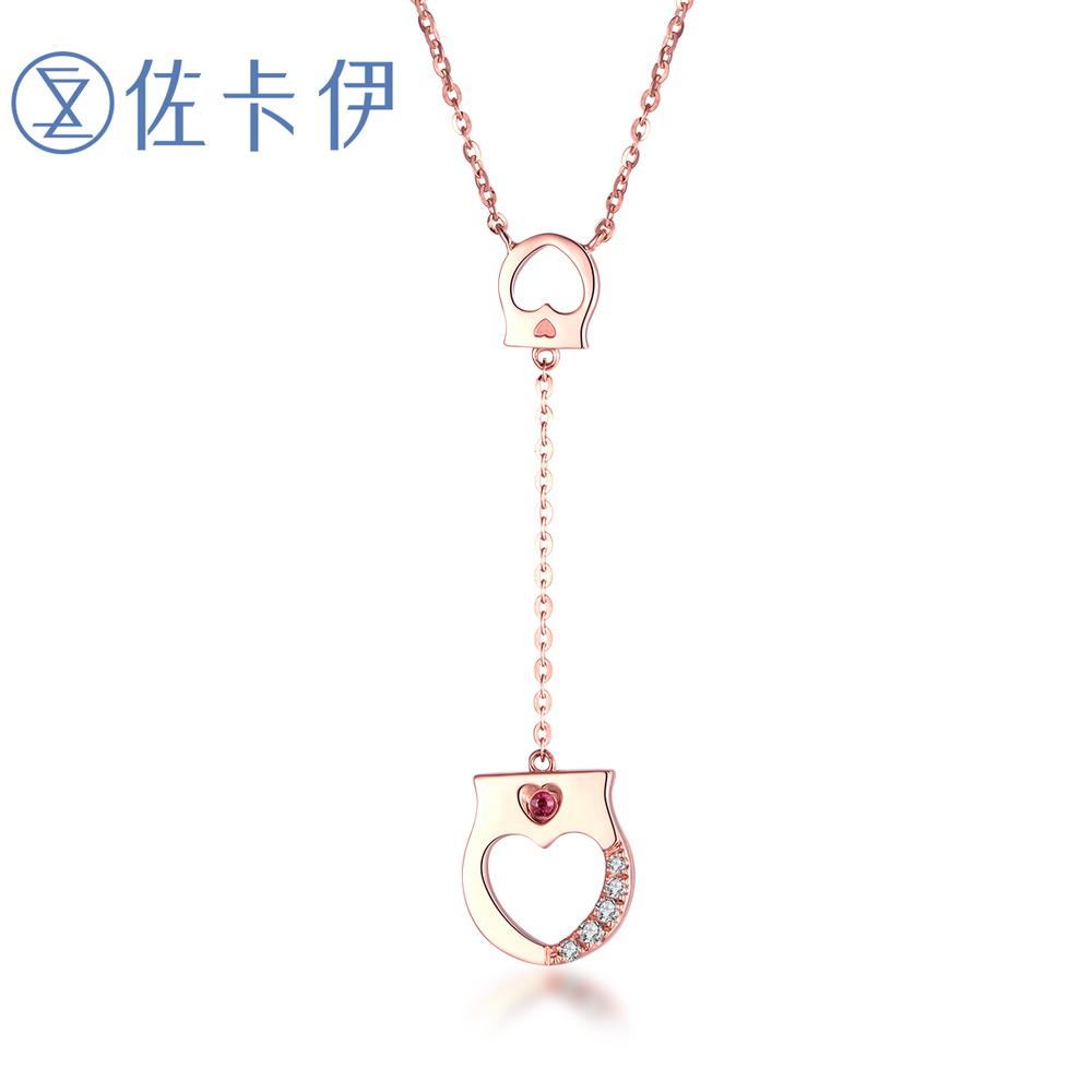 佐卡伊LockHeart手铐造型为了你我愿意热爱整个世界K金钻石项链女