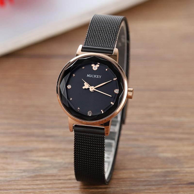 新款迪士尼手表钢带时尚简约 网带女表 菱形镜面女士腕表MK-11231