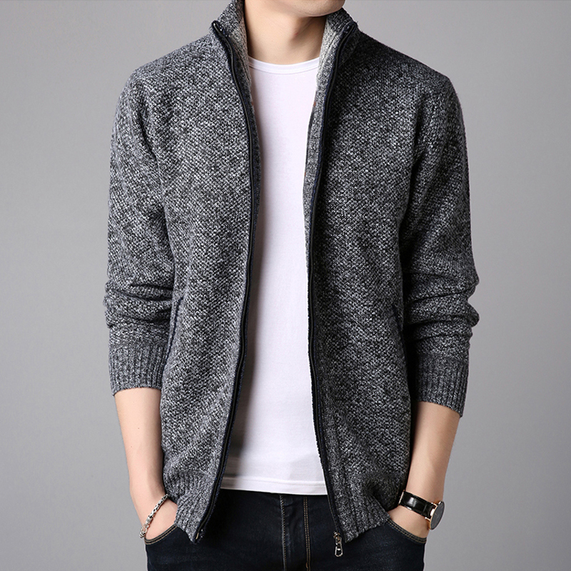 Cashmere thickened cardigan mens slim knit mens stand collar solid color sweater jacket mens wear