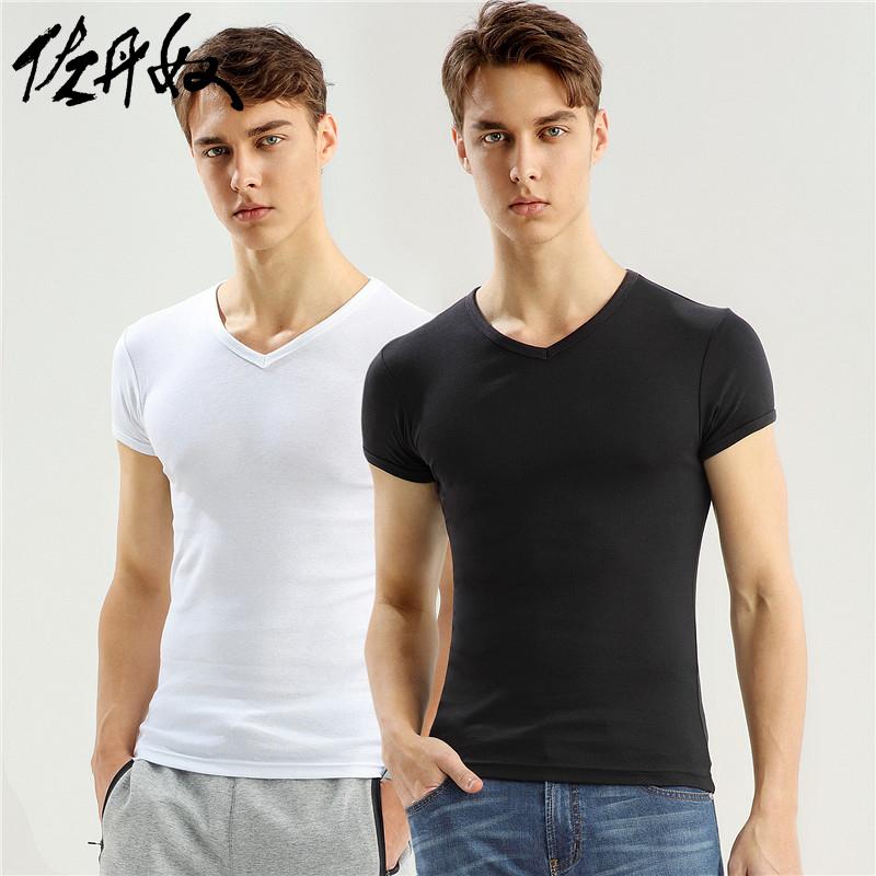 佐丹奴打底衫男 两件装鸡心v领纯棉纯色打底t恤 男体恤衫01242013
