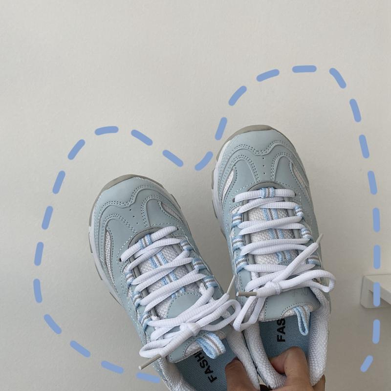 泡面小希鞋子3月24春季新超美复古奶油美蓝色运动鞋增高休闲女鞋图片