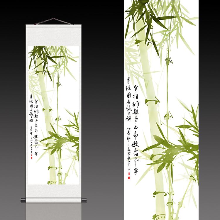 事业高升风水挂画办公室装饰壁画条幅竹子翠竹节节高丝绸卷轴国画