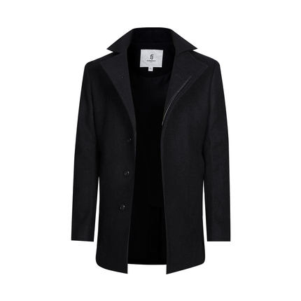马克华菲羊毛大衣 2015秋新款精致中长款时尚单排扣立领黑色大衣