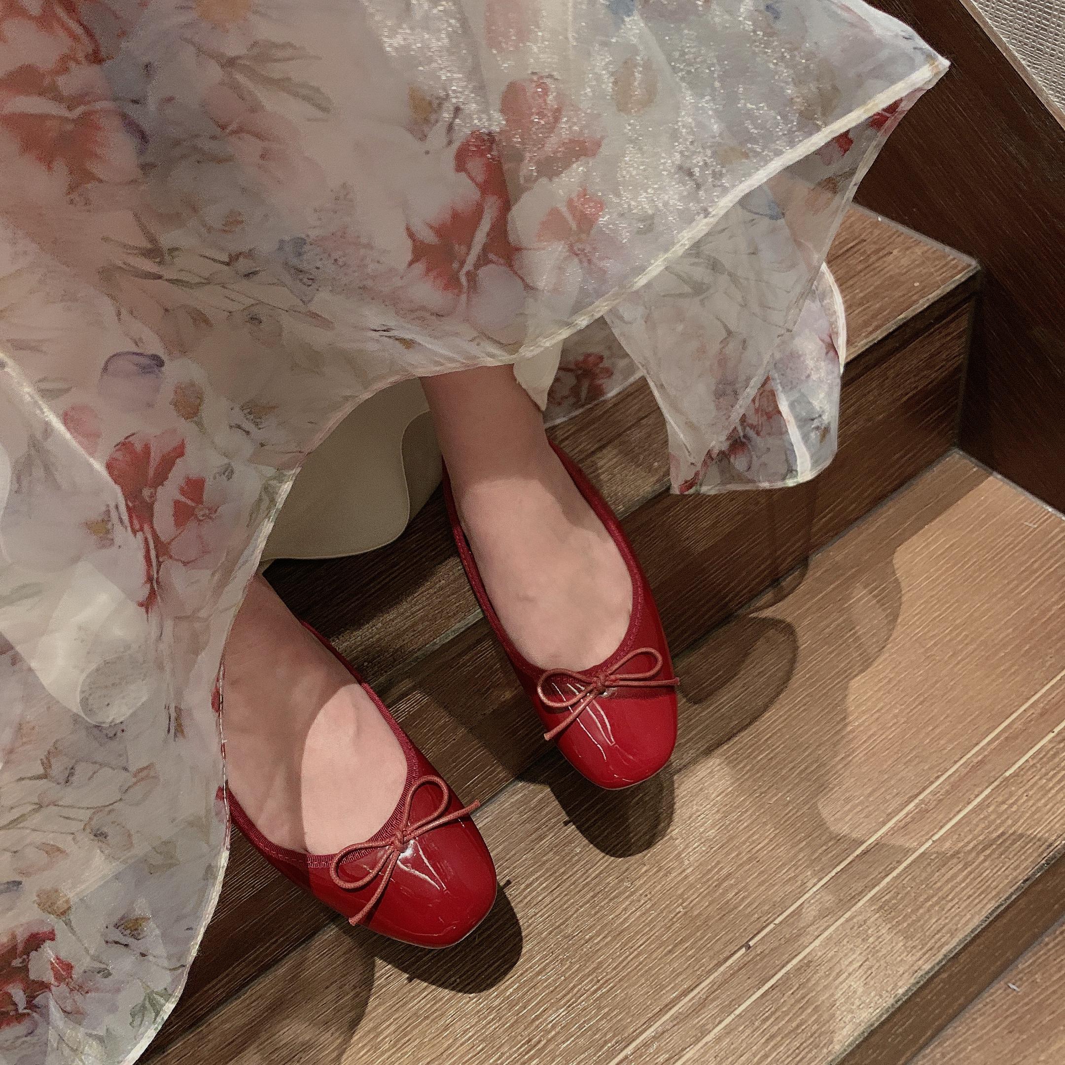 tmhshoes浅口蝴蝶结巨显白小红鞋