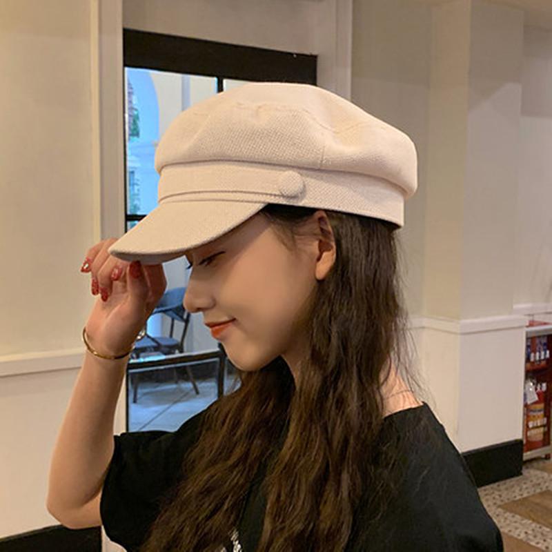 秋季贝雷帽女薄款棉麻日韩版白色平顶网红英伦海军八角帽子