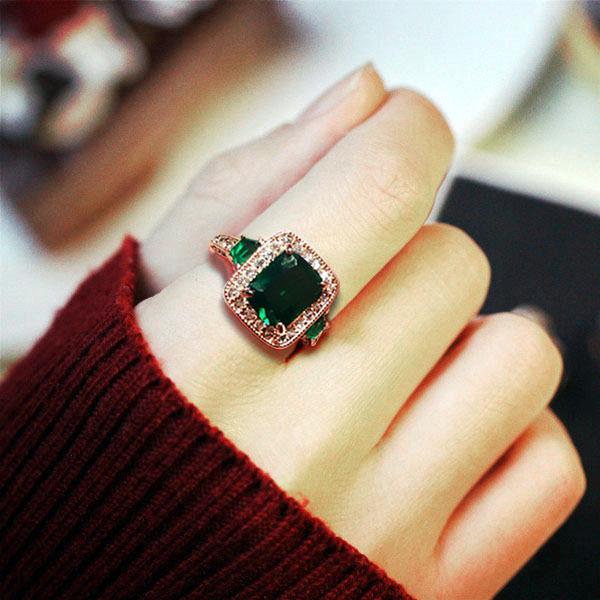 复古绿钻方形祖母绿戒指镀18K金绿宝石宴会礼服饰品女生日礼物 Изображение 1