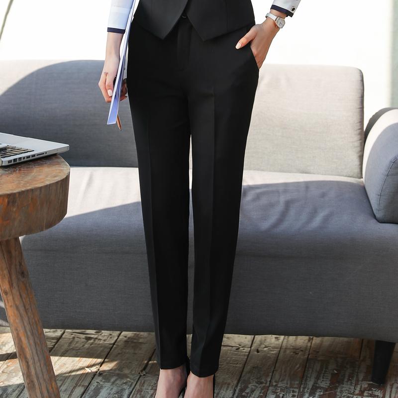 夏季薄款西装裤直筒工作裤正装裤职业女士西裤长裤修身黑色